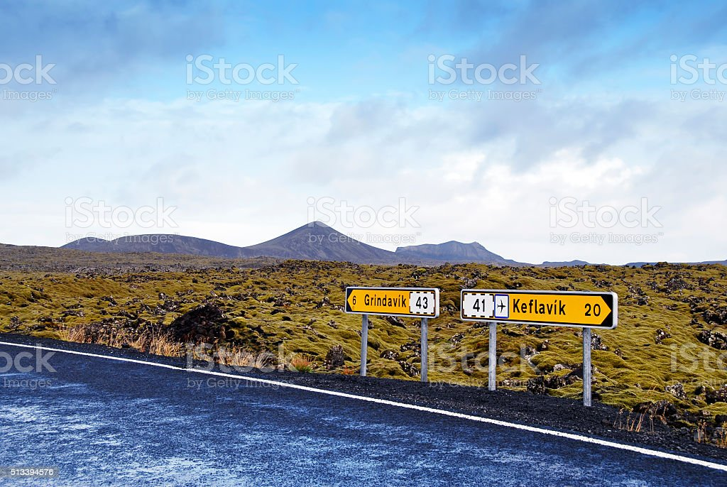 Signposts directing to Grindavik and Keflavik Airport,Reykjanes Peninsula,Iceland stock photo