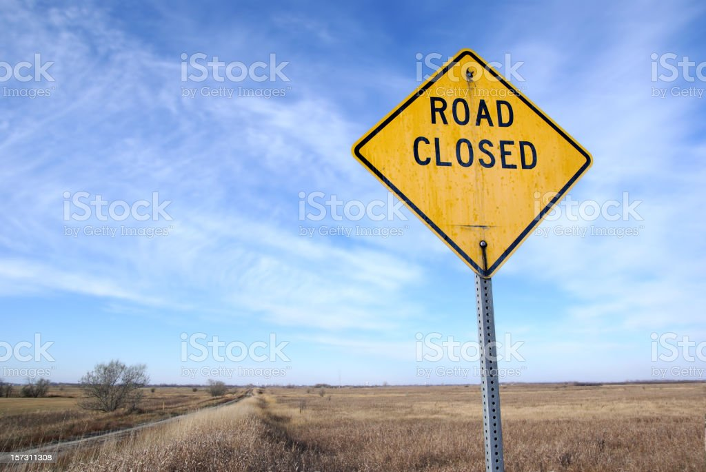 sign-road closed stock photo
