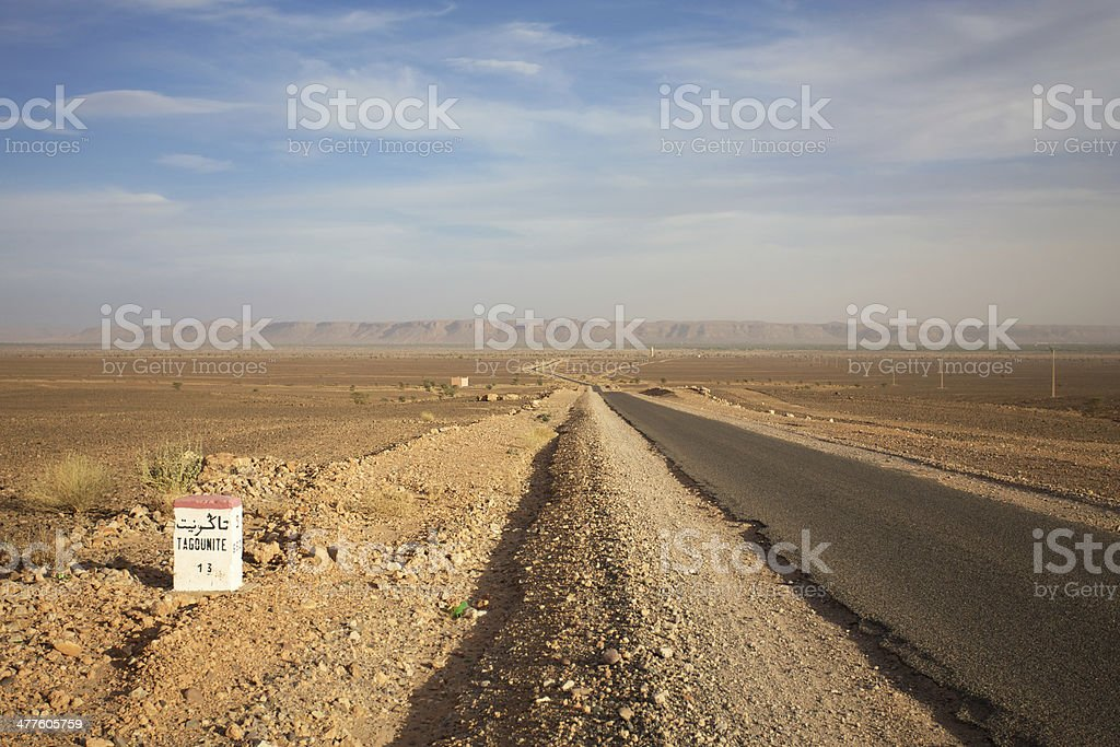 Signroad with Tagounite 13 km Morocco stock photo