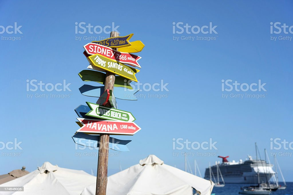 signs at the beach stock photo