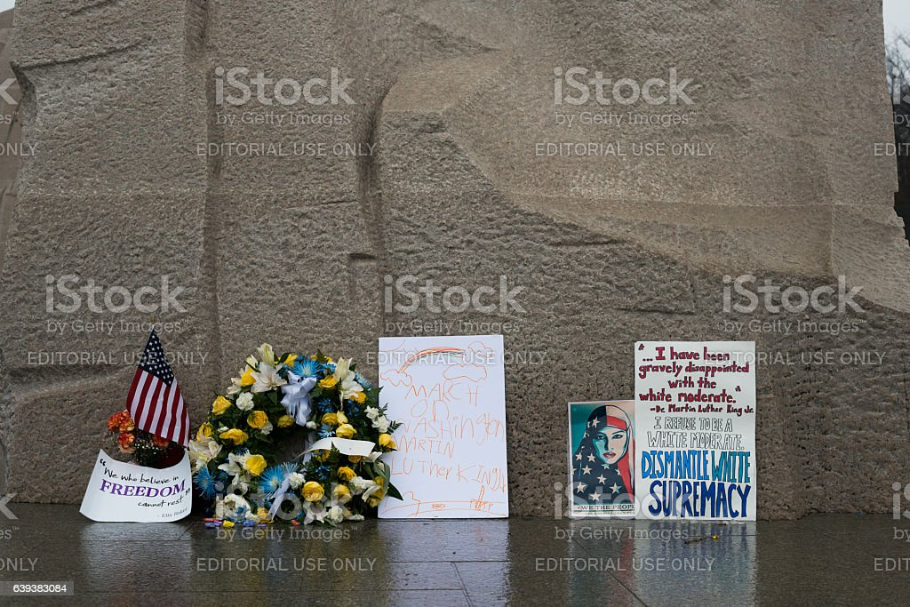 Signs at the Martin Luther King Jr Memorial, Washington DC stock photo
