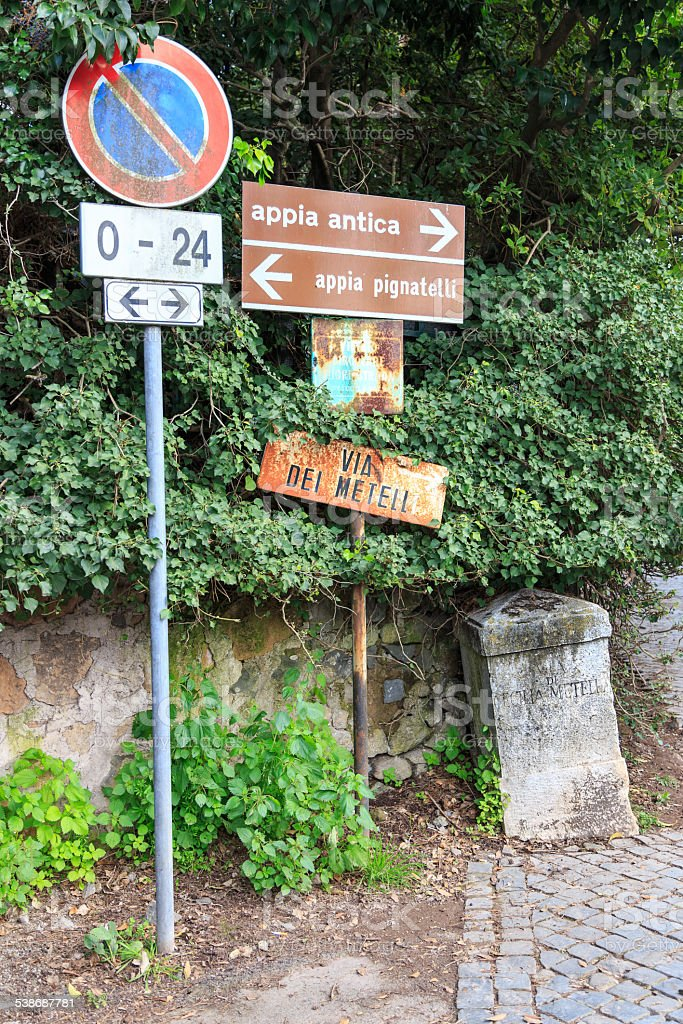Signs at the Via Appia stock photo
