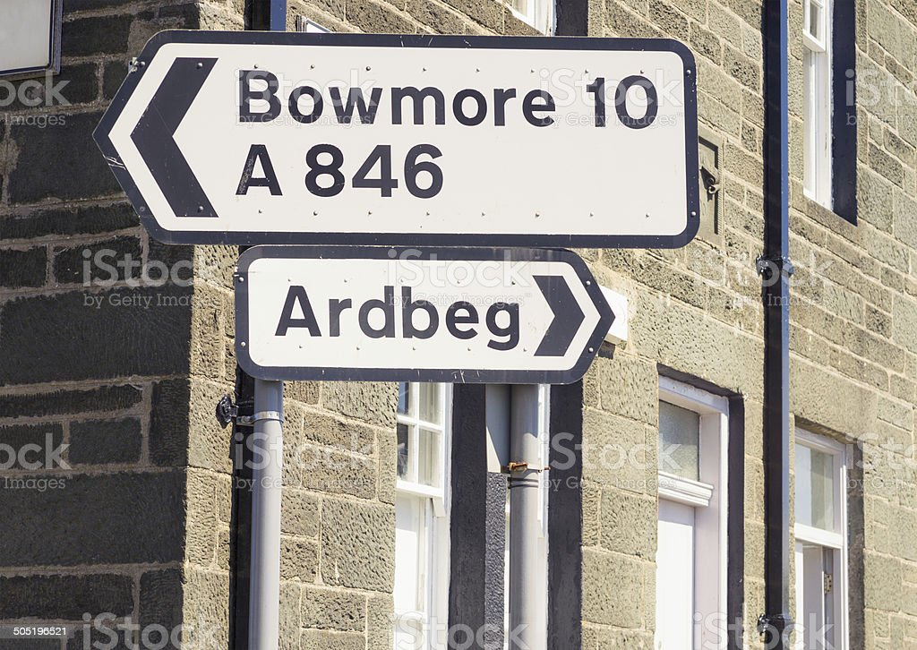 Signs for Bowmore and Ardbeg on Islay stock photo