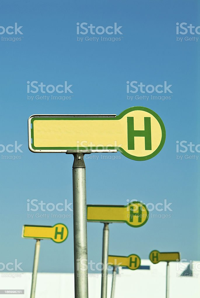 Signs for bus station stock photo