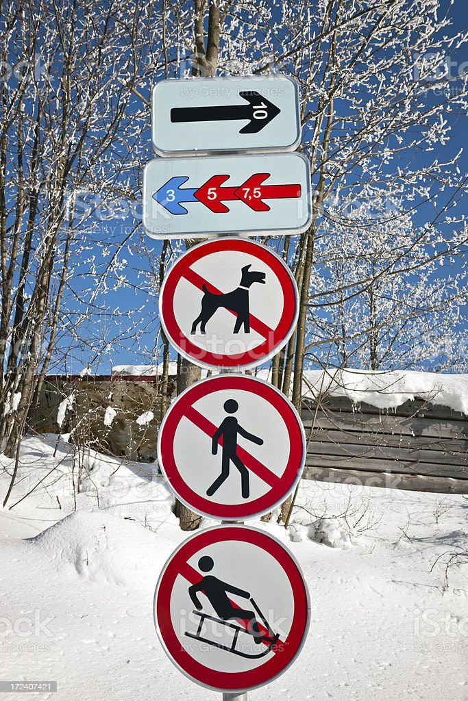 Signs for Cross-Country Ski Track Slovenia stock photo