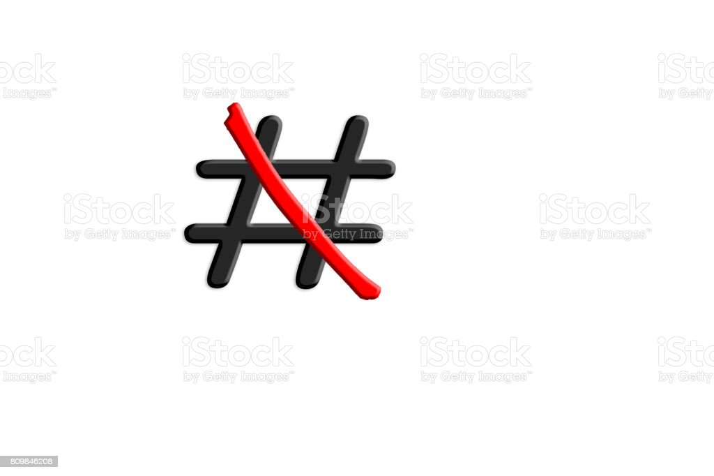 Signs Hashtag # red crossed out. stock photo
