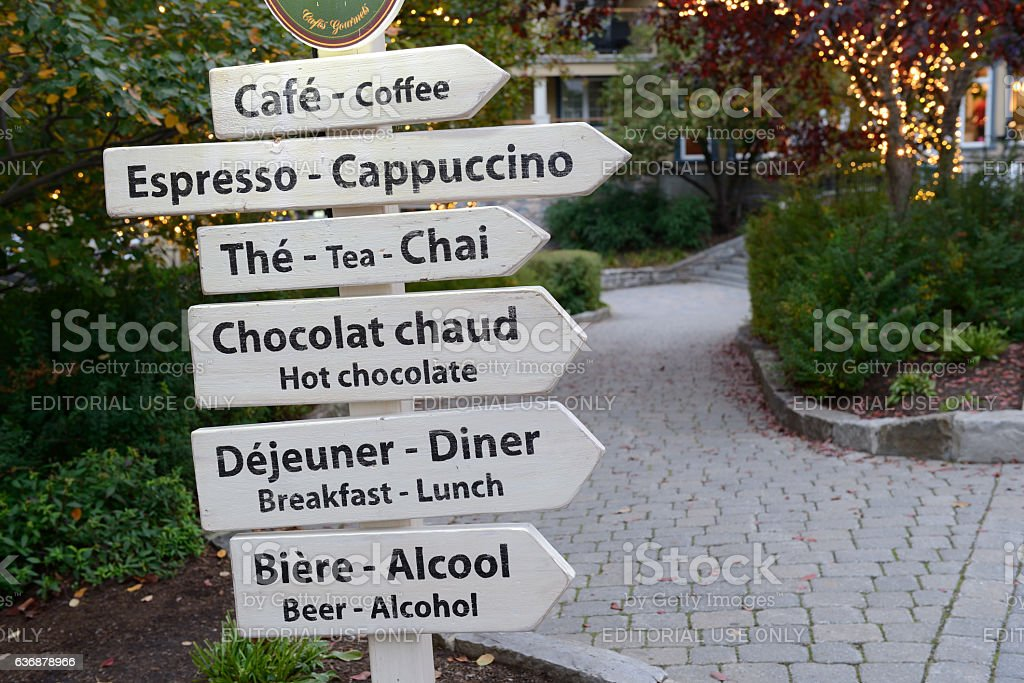 Signs in Mont Tremblant resort village stock photo