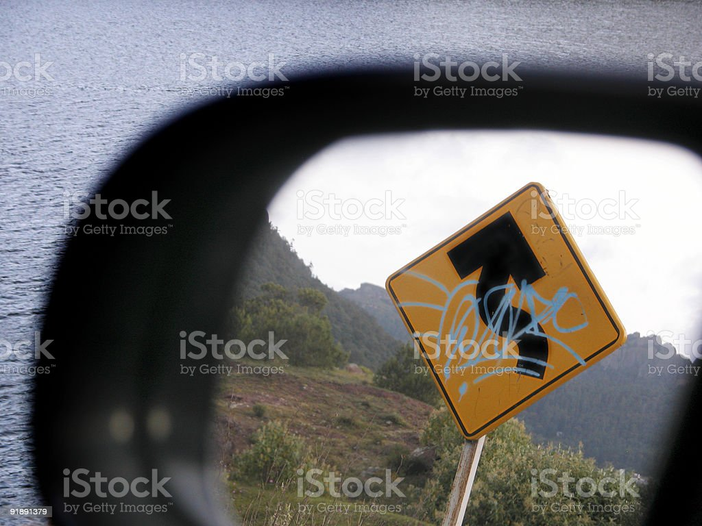 signs in the mirror are closer than they appear royalty-free stock photo