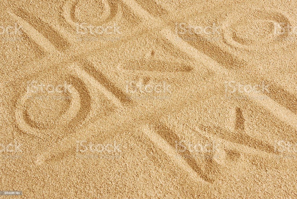 Signs in the sand royalty-free stock photo