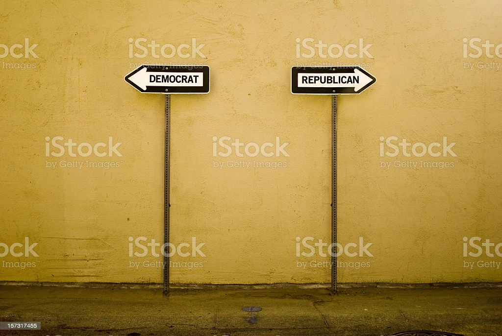 Signs indicating separate ways for democrats and republicans royalty-free stock photo