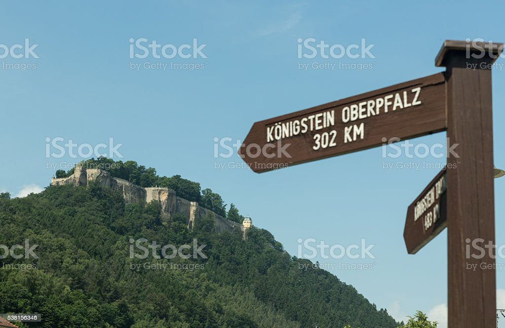 Signs indicating the direction of the fort Konigstein stock photo