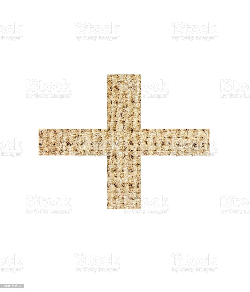 Signs Mathematics made from sackcloth brown isolated on white royalty-free stock photo