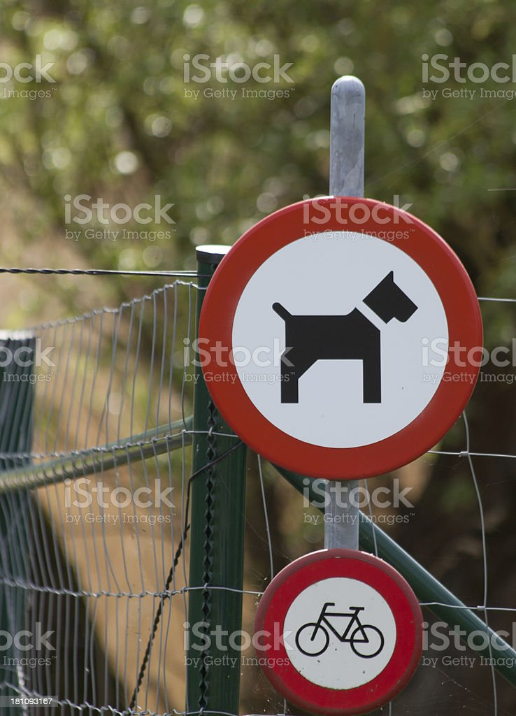 Signs: No Dogs and Bicycles allowed royalty-free stock photo