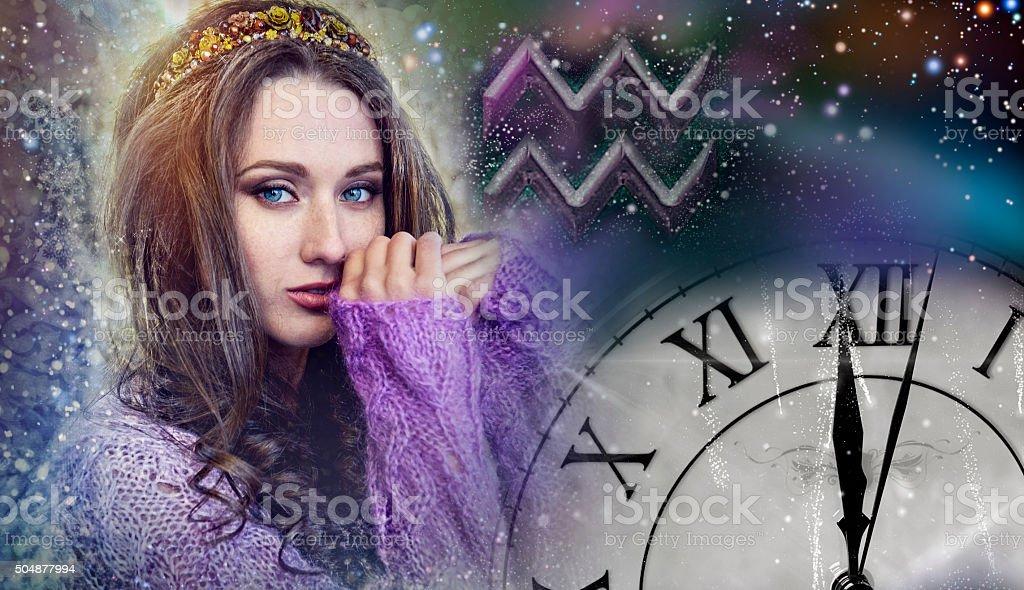 Signs of the zodiac, Aquarius stock photo