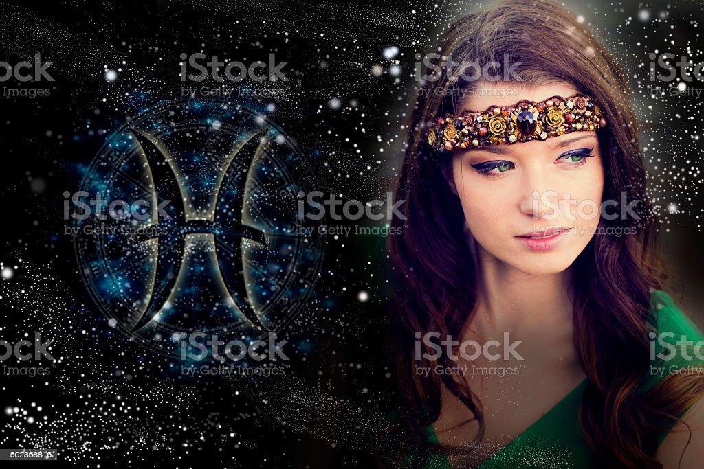 Signs of the zodiac, fish, female horoscope stock photo