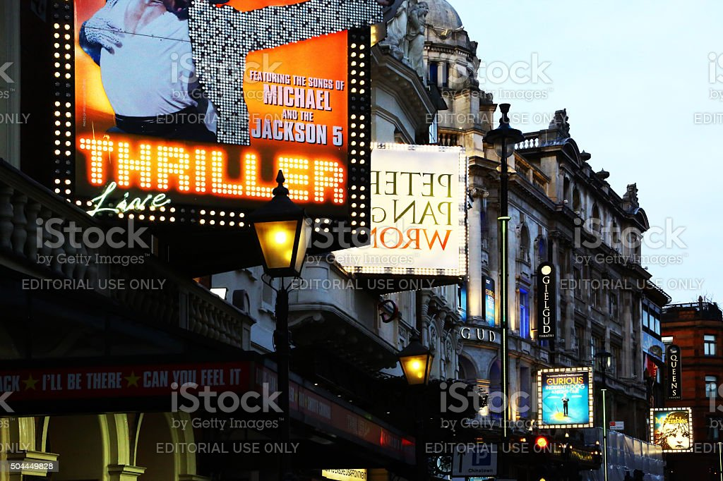 Signs of theaters in London stock photo