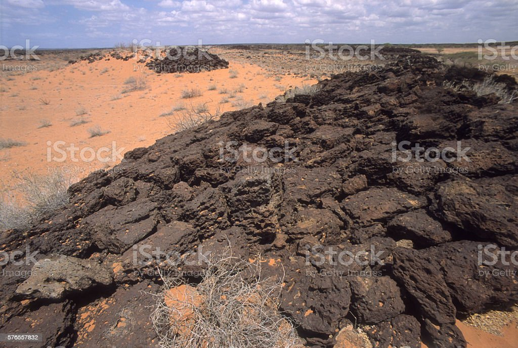 Signs of volcanic activity in the Kaisoot desert, northern Kenya stock photo