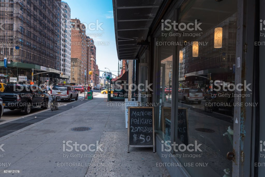Signs on 7th Avenue stock photo