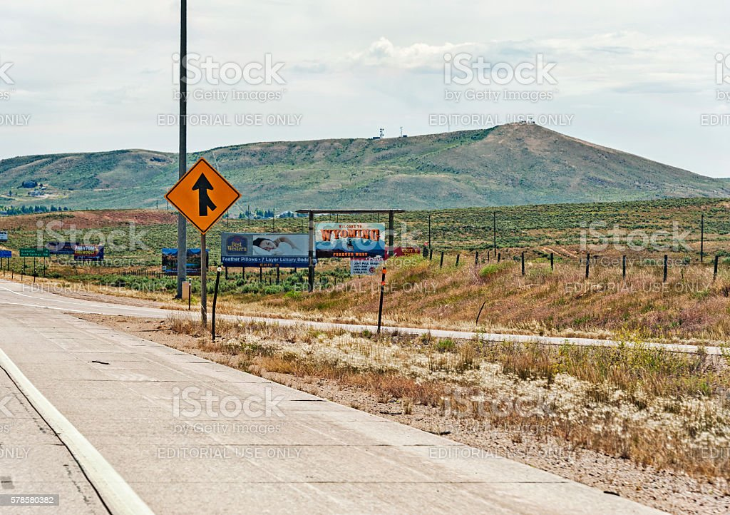 Signs on the highway to Wyoming stock photo