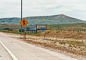 Signs on the highway to Wyoming