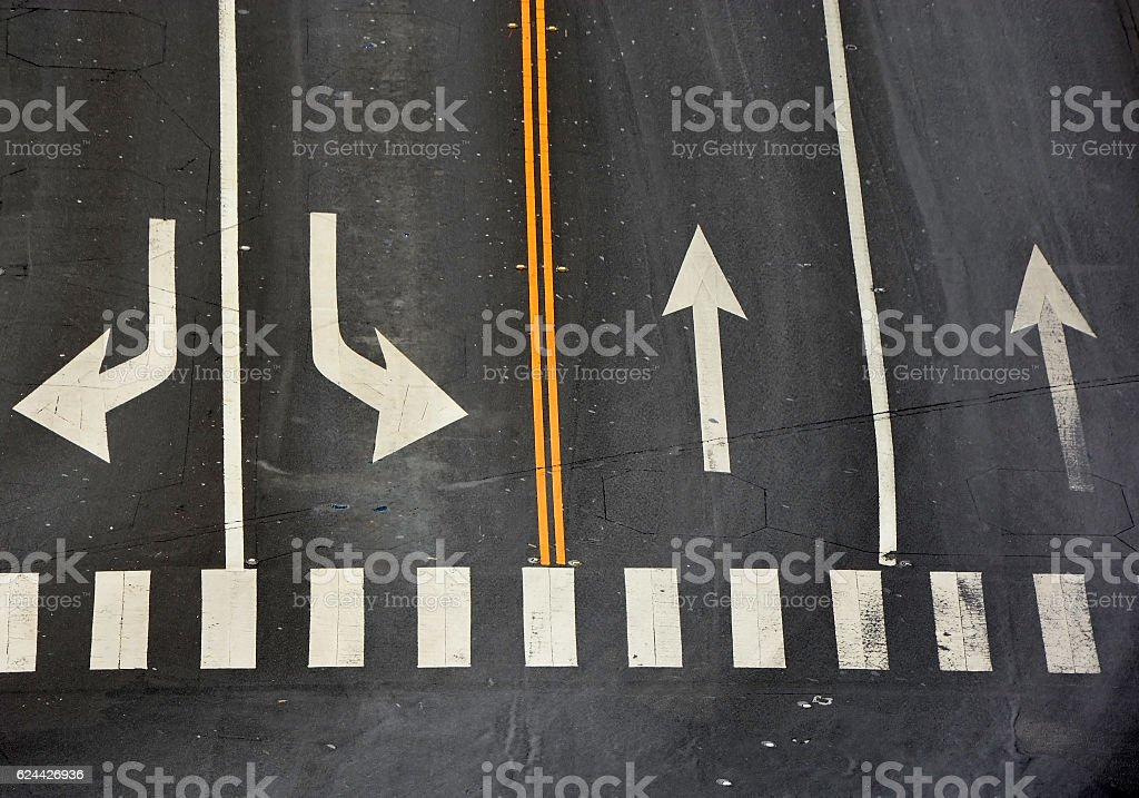 Signs on the road stock photo