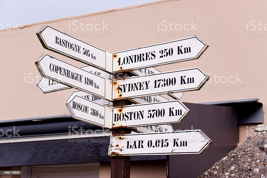 Signs Pointing to Various World Capitals stock photo