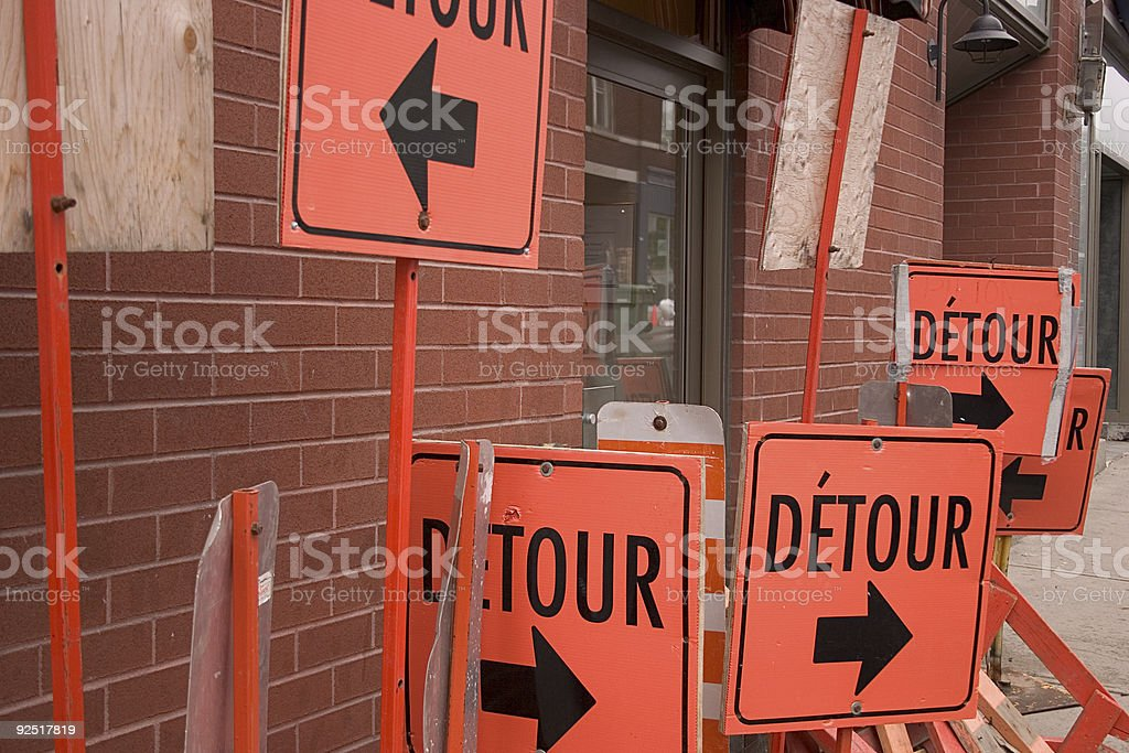 Signs, roads, detours. stock photo