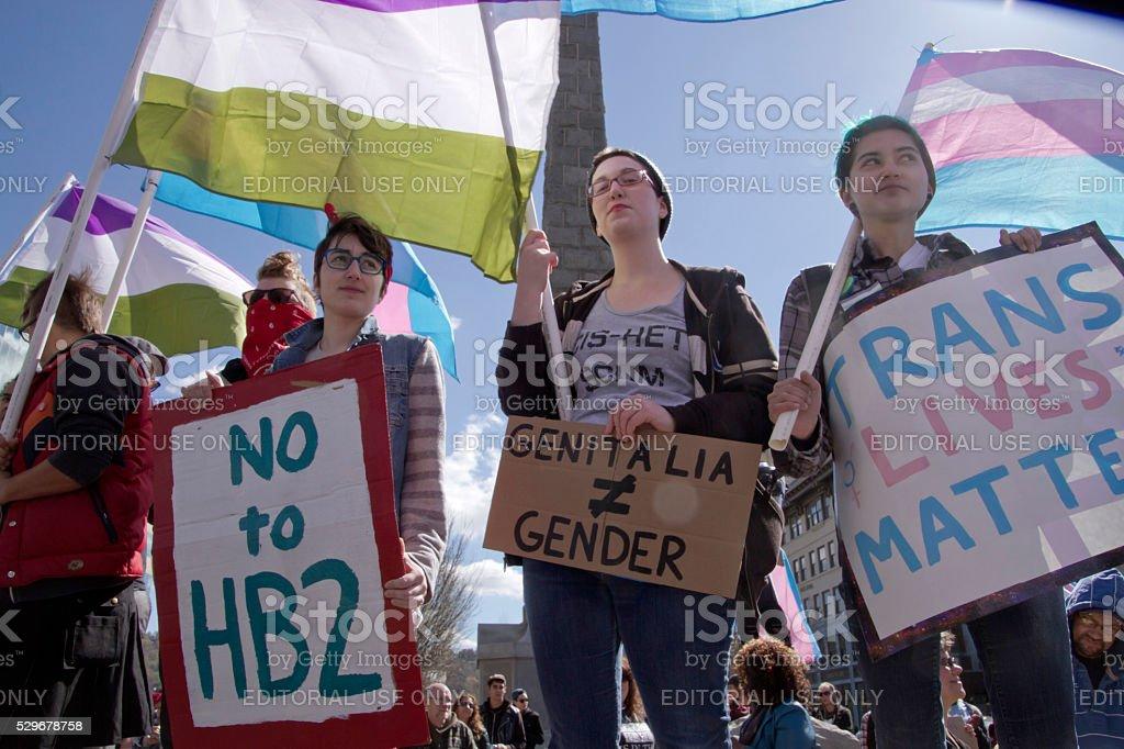 Signs Say No to HB2 in North Carolina stock photo