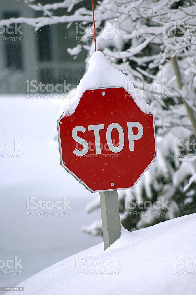 Signs : Stop Sign with Snow royalty-free stock photo