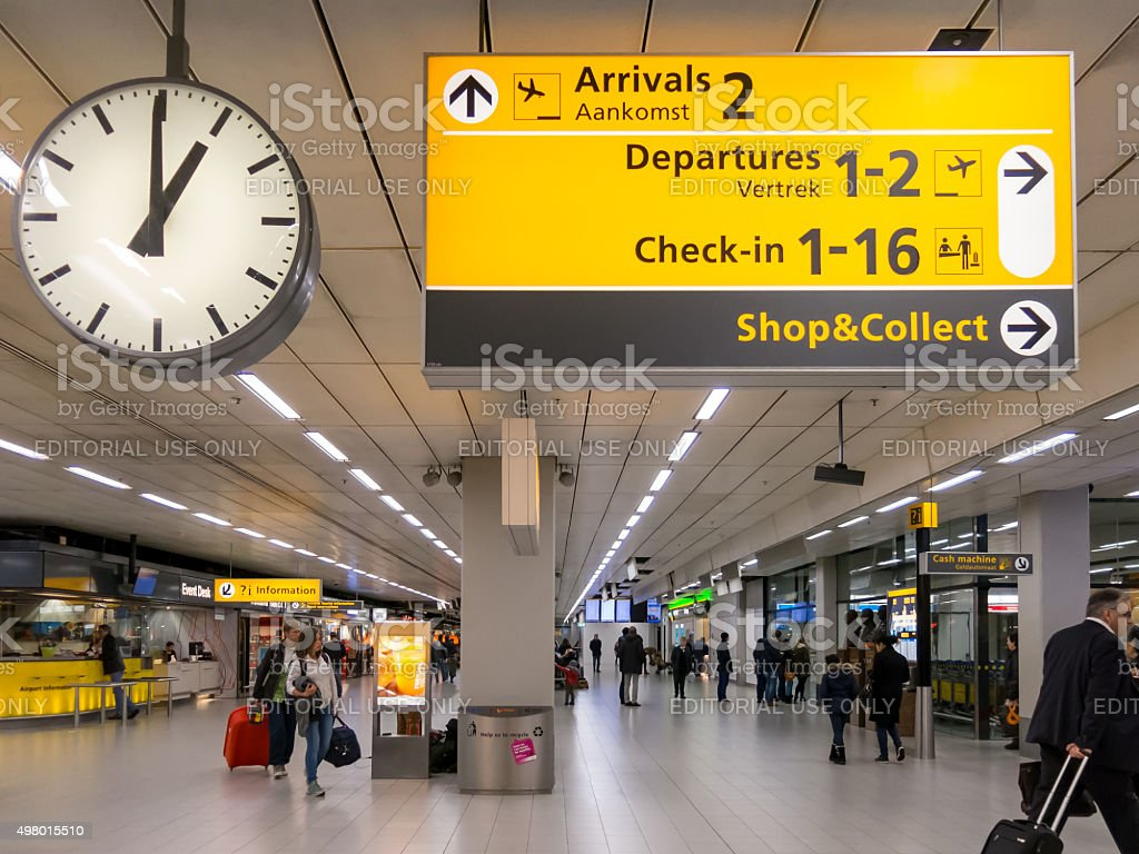 Signs terminal Schiphol Amsterdam Airport, Holland stock photo