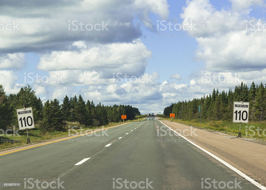 Signs Warning of Speed Limit of 110 in Nova Scotia stock photo