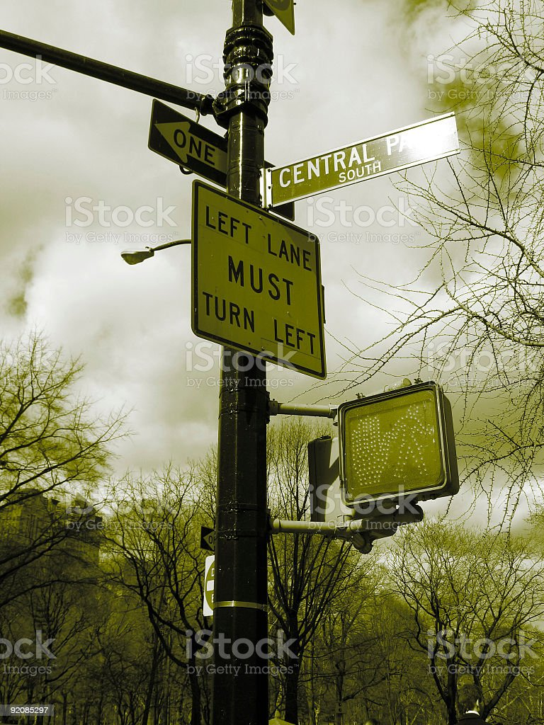 signs yellow nyc royalty-free stock photo