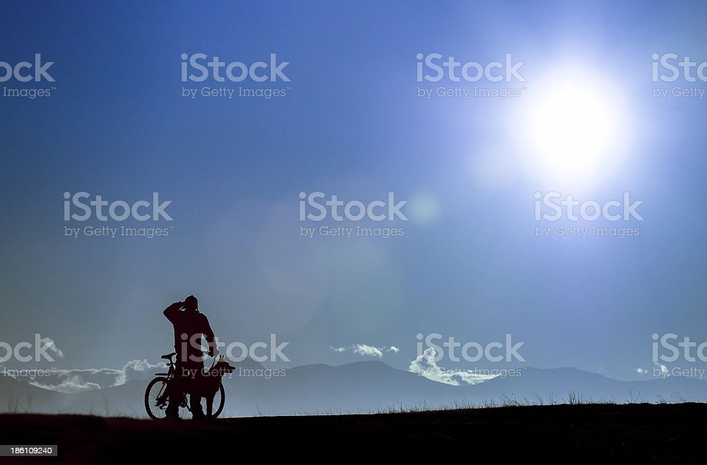 sihouette of a biker with dogs stock photo