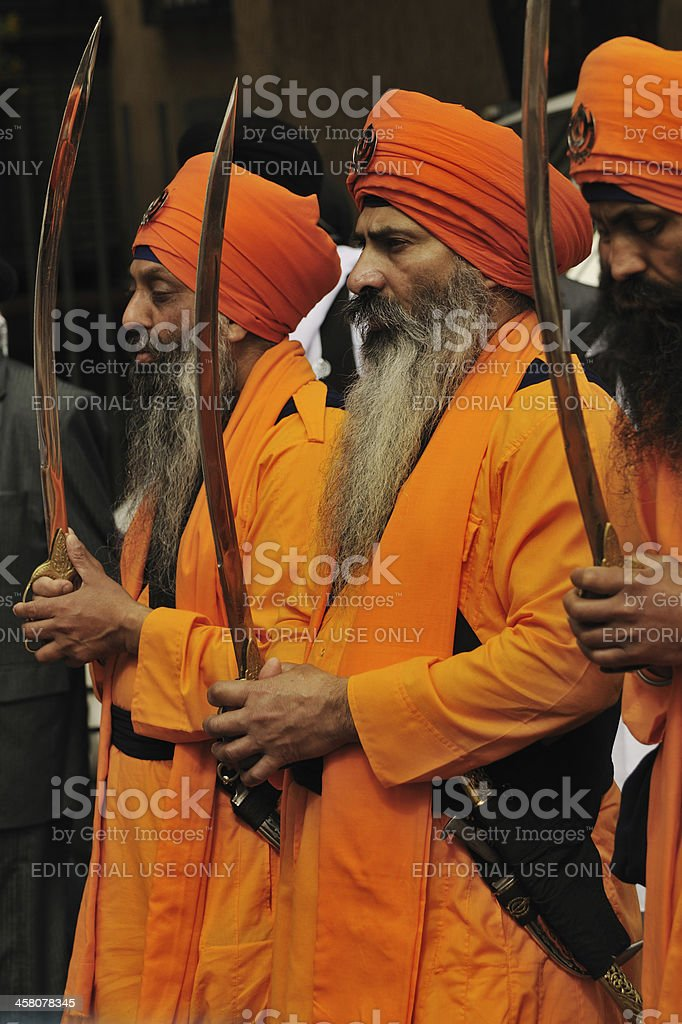 Sikh devotees take part to Baisakhi procession 2011 royalty-free stock photo