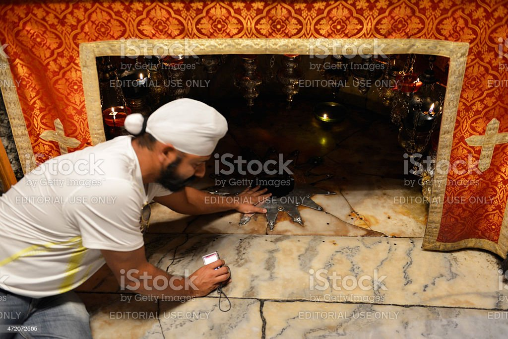 Sikh man at the birthplace of Jesus royalty-free stock photo
