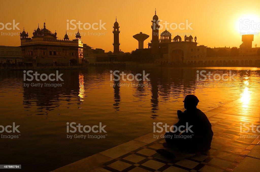 Sikh pilgrims at Golden Temple India stock photo