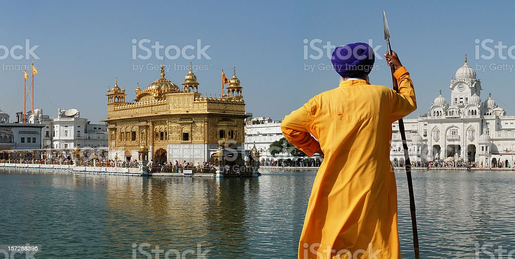 Sikh Warrior in the Golden Temple, Amritsar stock photo