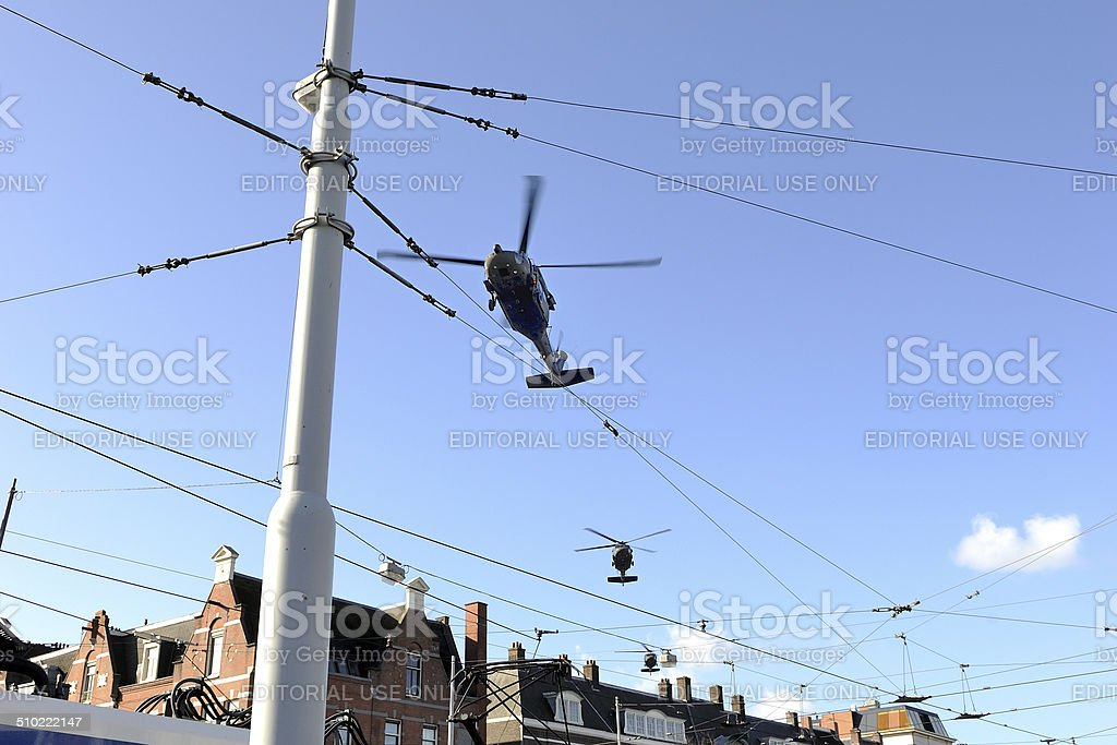 US Sikorski Whitehawk helicopters flying low over Amsterdam stock photo