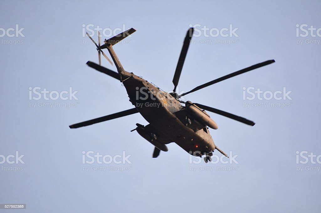 Sikorsky CH-53 helicopter in the air stock photo