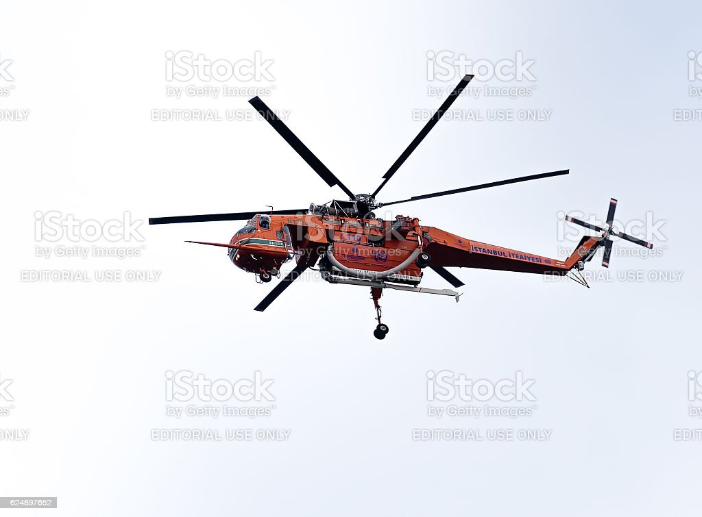 Sikorsky S-64 Skycrane Fire Fighting Helicopter of Istanbul stock photo