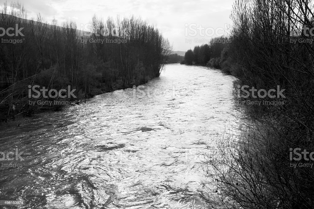 Sil river in winter time, Galicia, Spain. stock photo