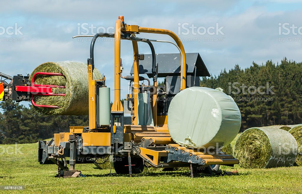 Silage Bales Wrapping stock photo