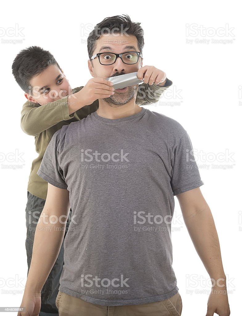 Silencing Father stock photo