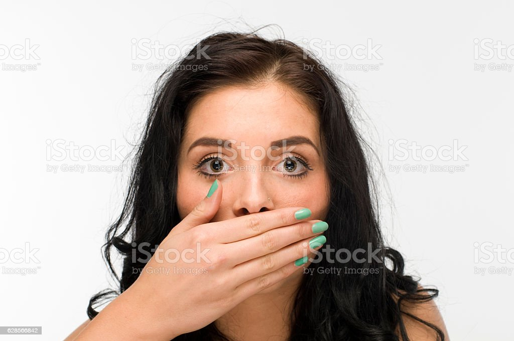 silent black haired woman stock photo