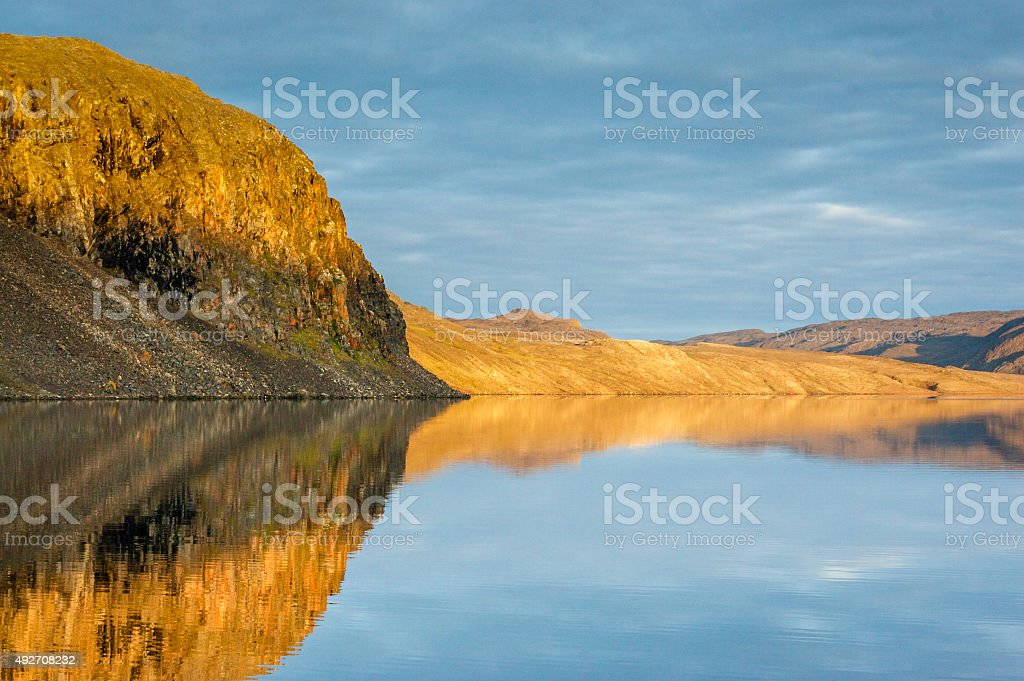 Silent, hidden bay in the high rctic stock photo