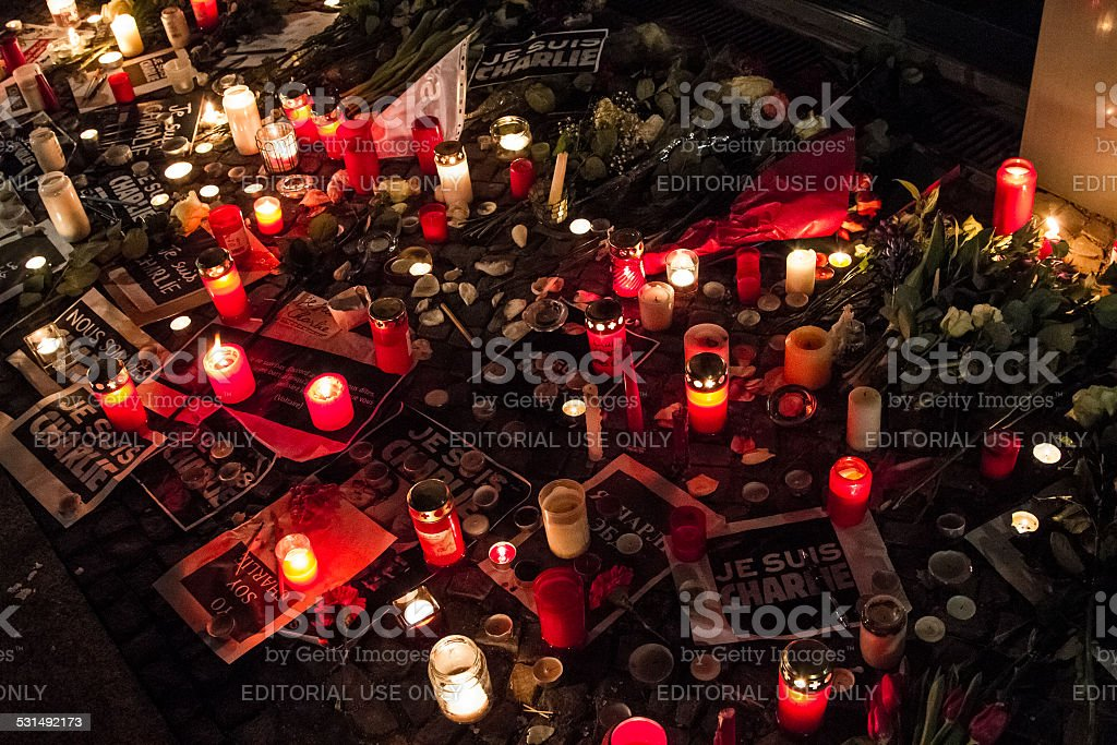Silent rally at French embassy in Berlin after Paris shooting stock photo