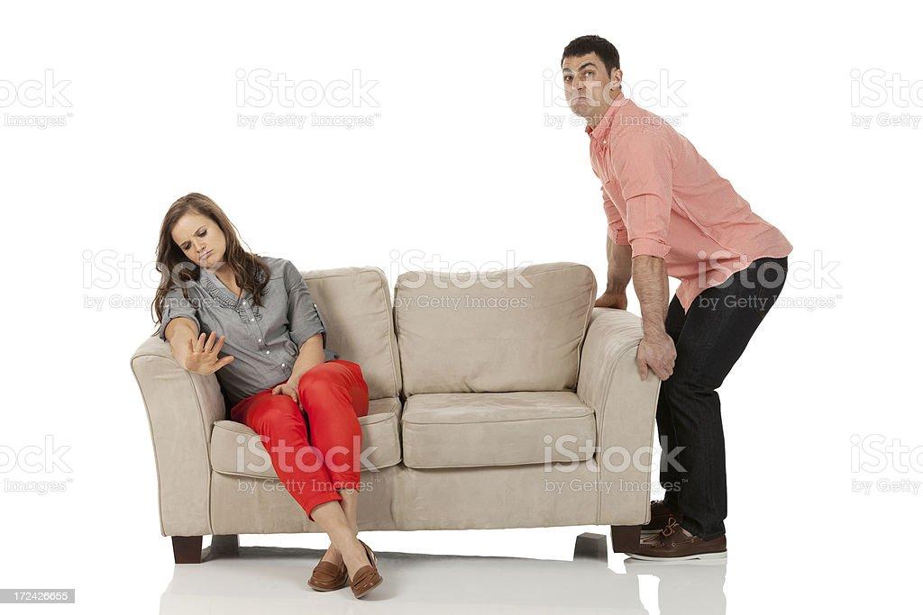 Silent Treatment! Woman ignoring her boyfriend royalty-free stock photo