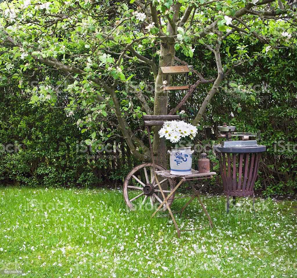 silent under apple tree stock photo