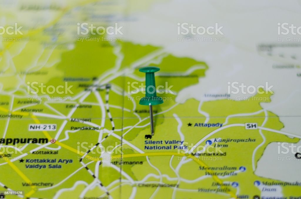 Silent Valley National Park map stock photo