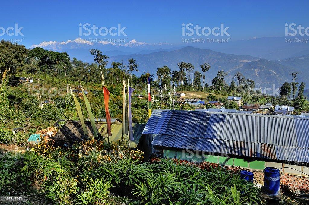 Silerygaon Village, Kanchejuga backdrop, Sikkim royalty-free stock photo